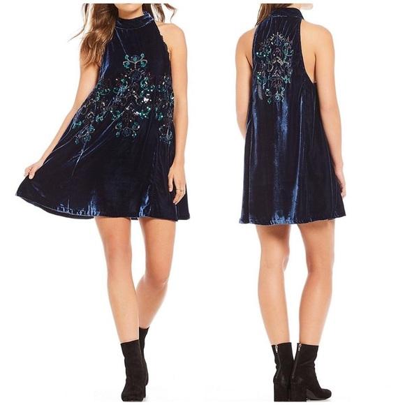 ec0a85801848 Free People Dresses | Blue Velvet Sequin Swing Dress | Poshmark